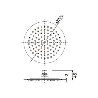 SS304 Ultra slim round shower head 300 mm