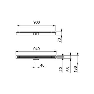 Calha horizontal 900x30x25mm SLIM